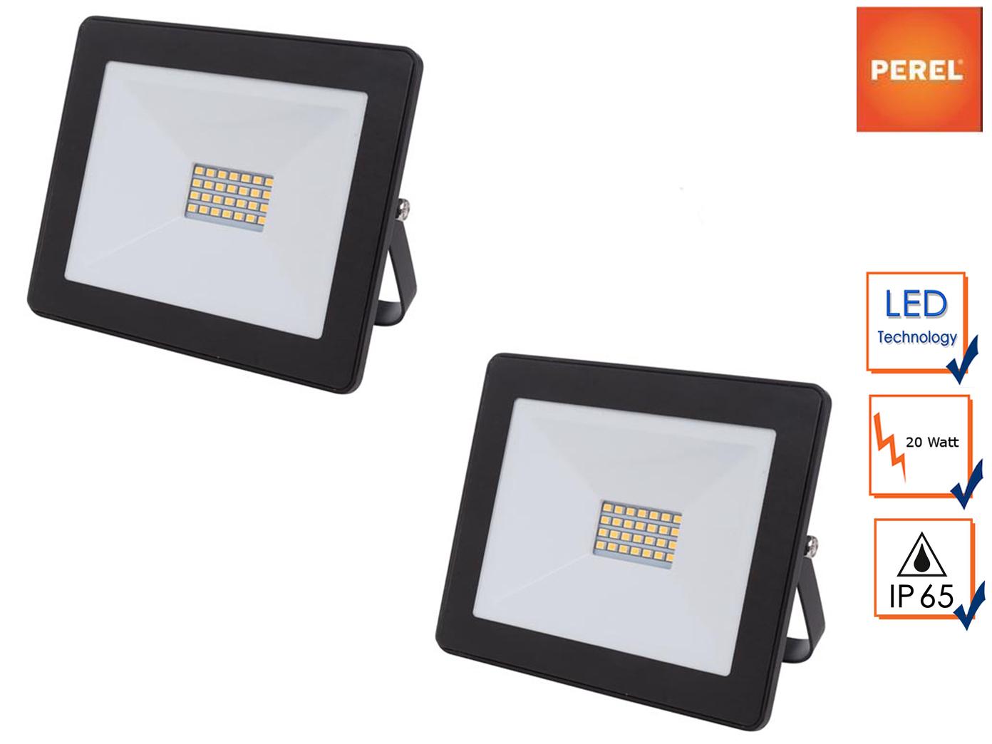 2er Set Perel 20W LED Arbeitsleuchten klein, Baustrahler Flutlicht Scheinwerfer