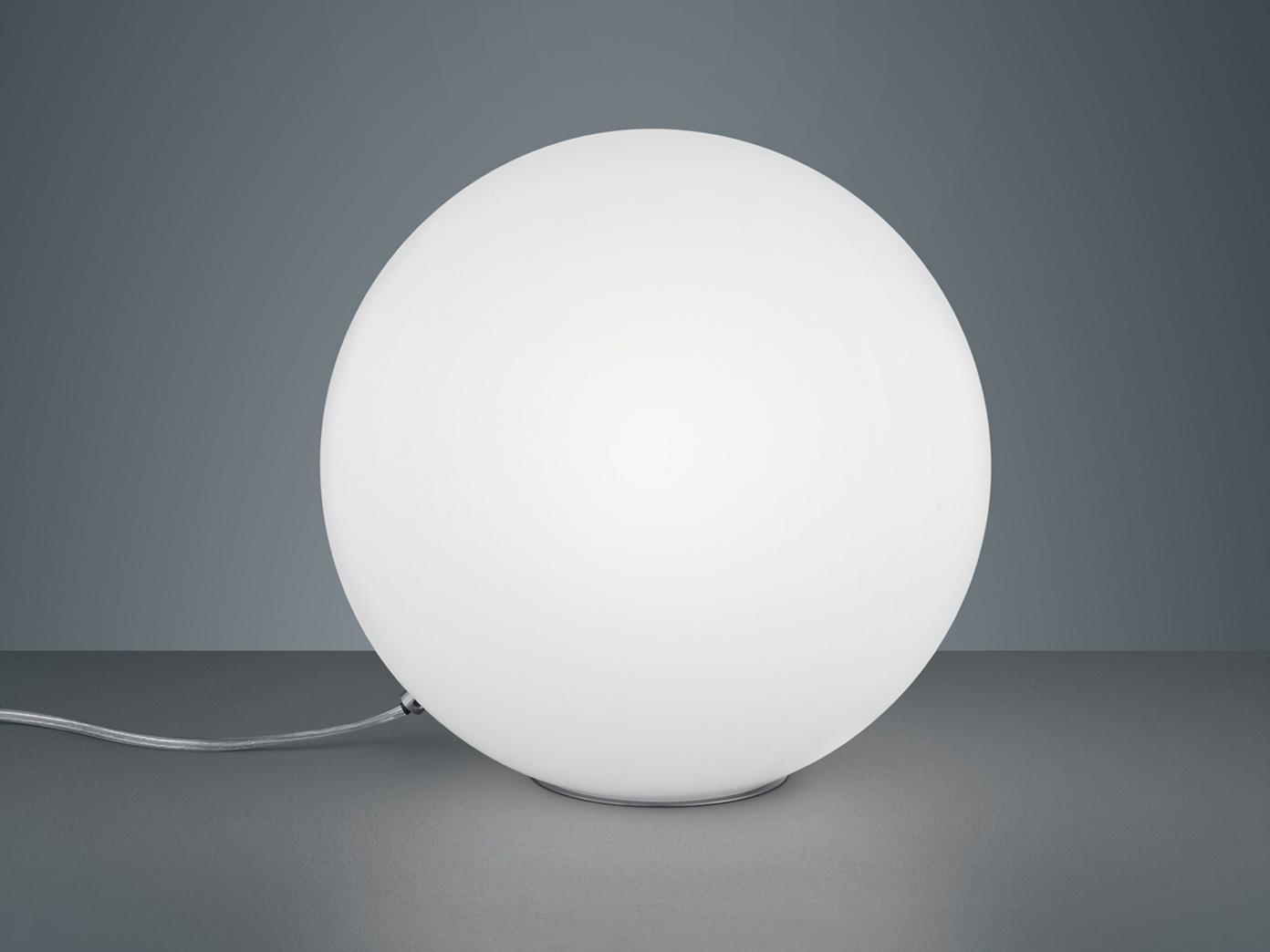 Weiße Glaskugel Innenbeleuchtung zum Aufstellen Metall Tischlampe Chrom Ø30cm