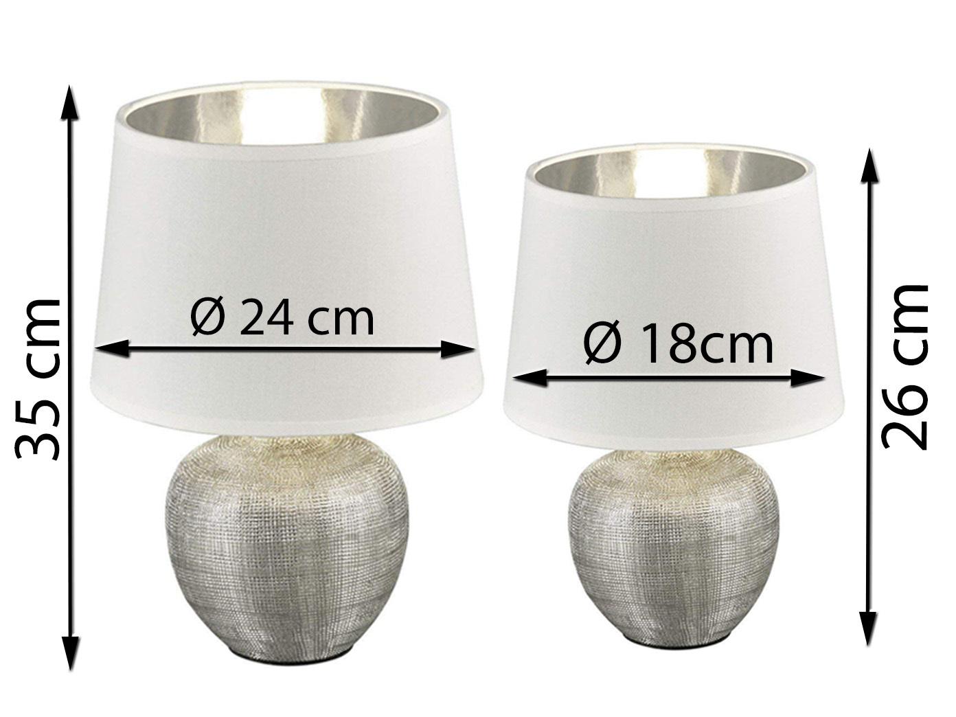 Tischlampen klassisch mit STOFF Lampenschirm rund Ø18cm//Ø26cm Schlafzimmerlampen