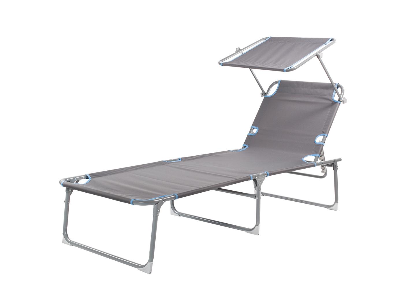 verstellbare Gartenliege Liegestuhl Camping klappbare Sonnenliege Alu mit Dach