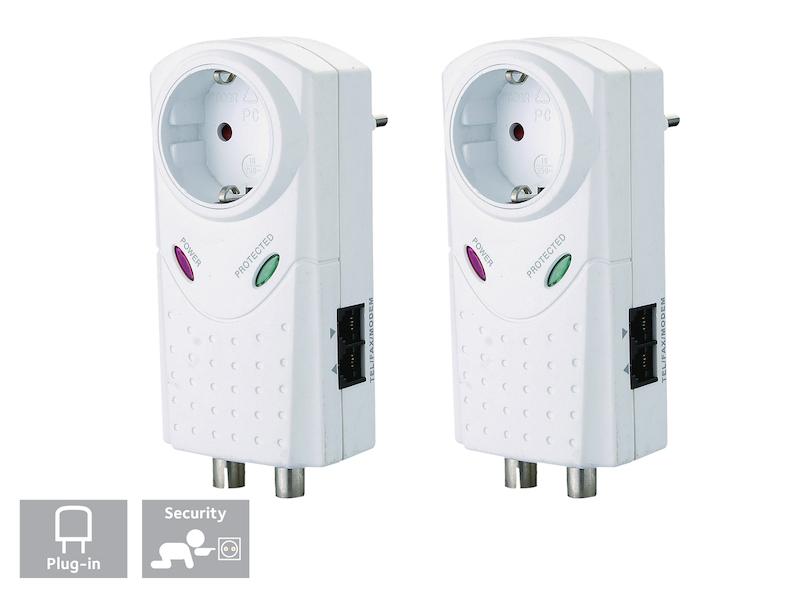 3680 Watt Überspannungsfilter Steckdose 2er-SET Überspannungsstecker max