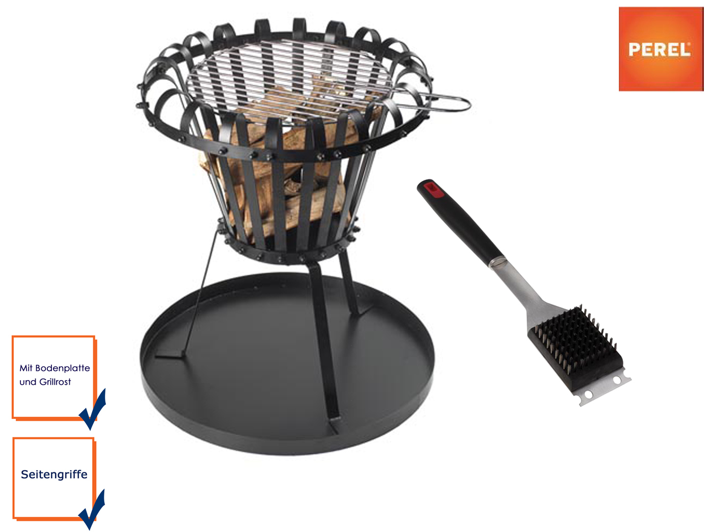 Braciere con griglia, piastra di base & Grill Spazzola Nero Ø 50cm focolare