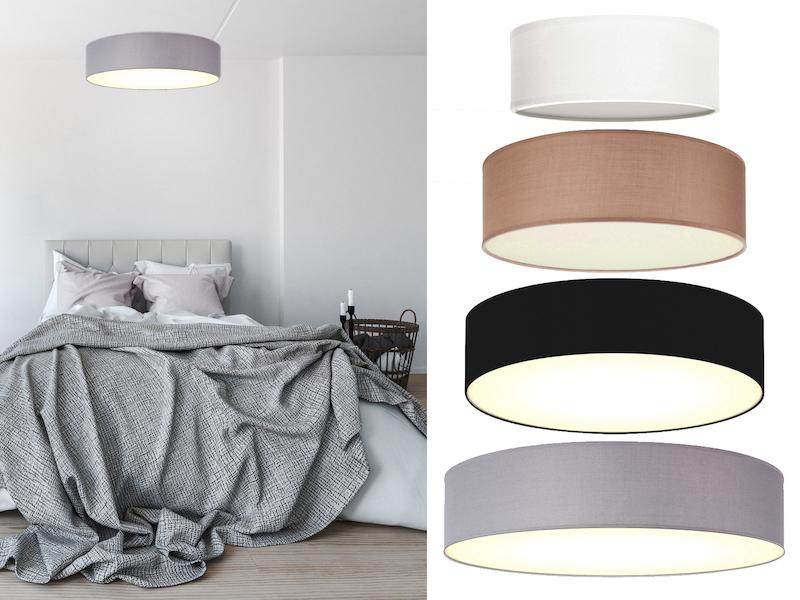 design deckenleuchte rund stoffschirm satiniterte abdeckung deckenlampen ebay. Black Bedroom Furniture Sets. Home Design Ideas