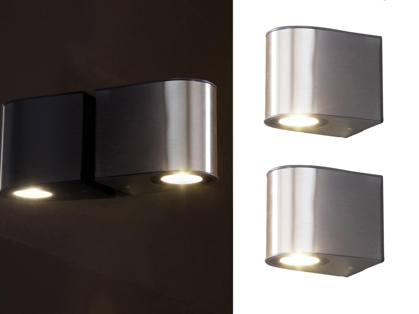 2 LED Außenleuchten Edelstahl Wandleuchte IP54 H.8cm Up U0026 Downlight  Wegeleuchte