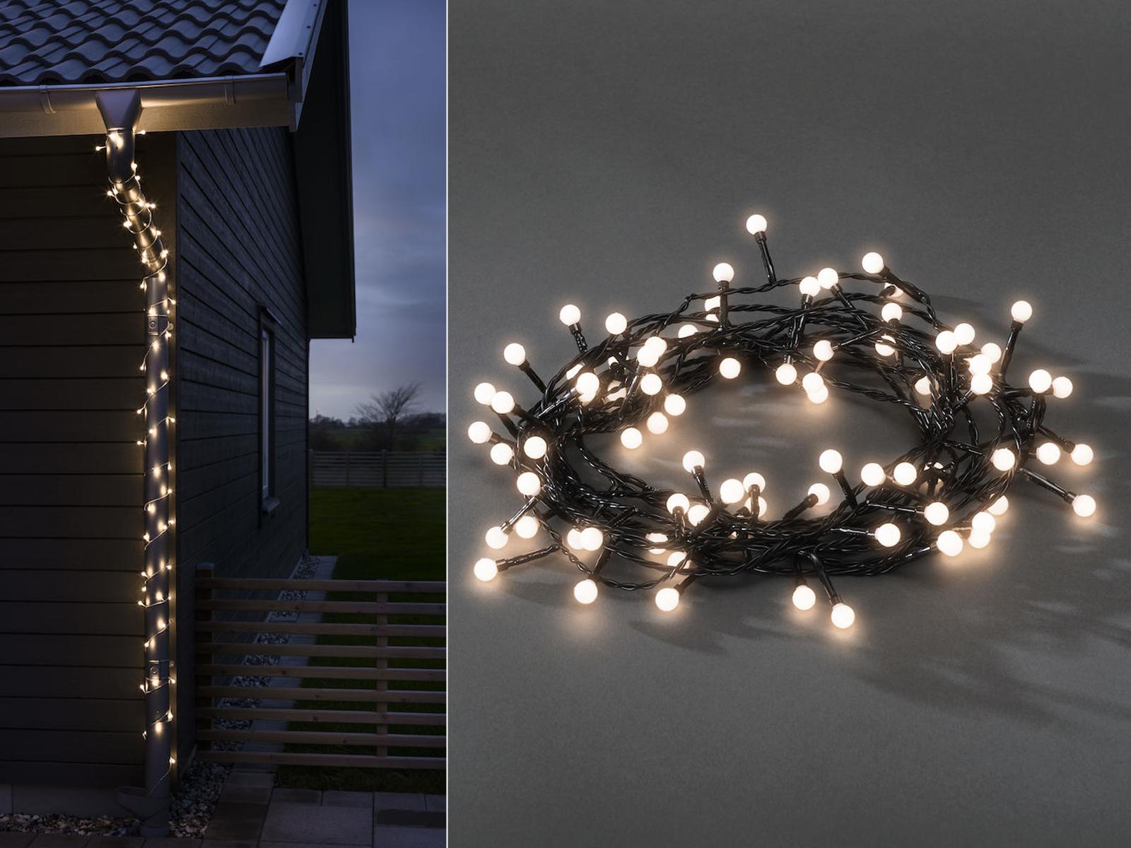 LED Globelichterkette 80 LEDs 9h Timer 24V Außentrafo IP44 Lichterkette Lichterkette Lichterkette außen   Verschiedene Arten und Stile  713cc7
