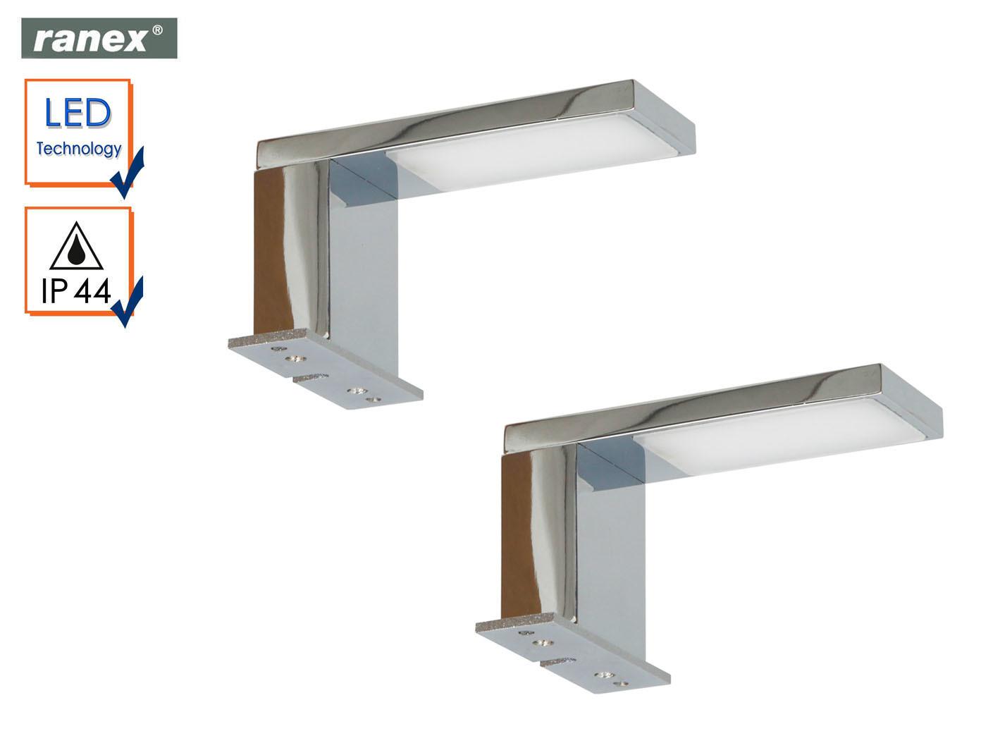 2x LED Spiegellampen JESOLO fürs Badezimmer, Spiegelleuchten Chrom ...