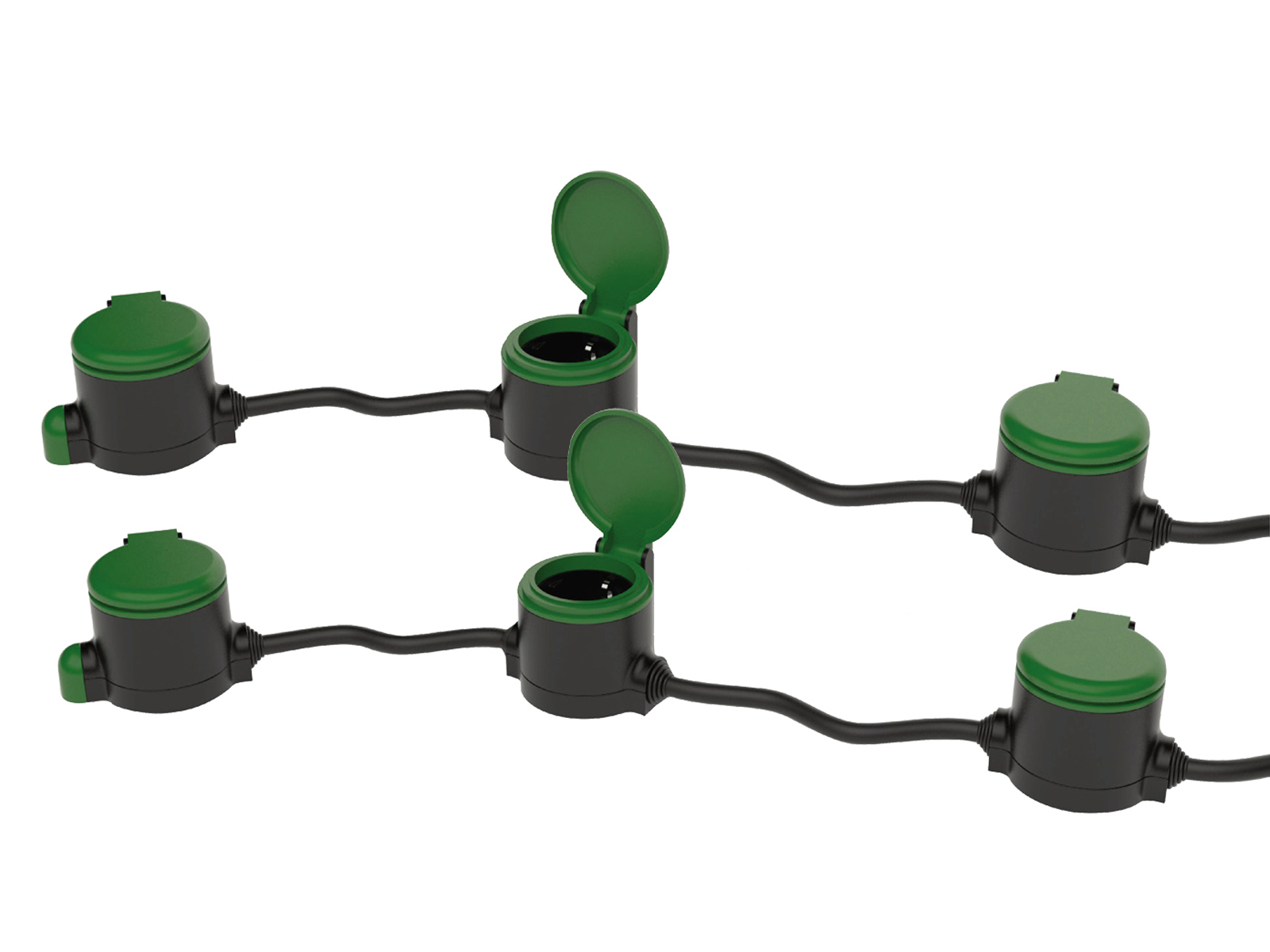 2er Set Outdoor Stromverteiler 3x Steckdosen 10 Meter Kabel