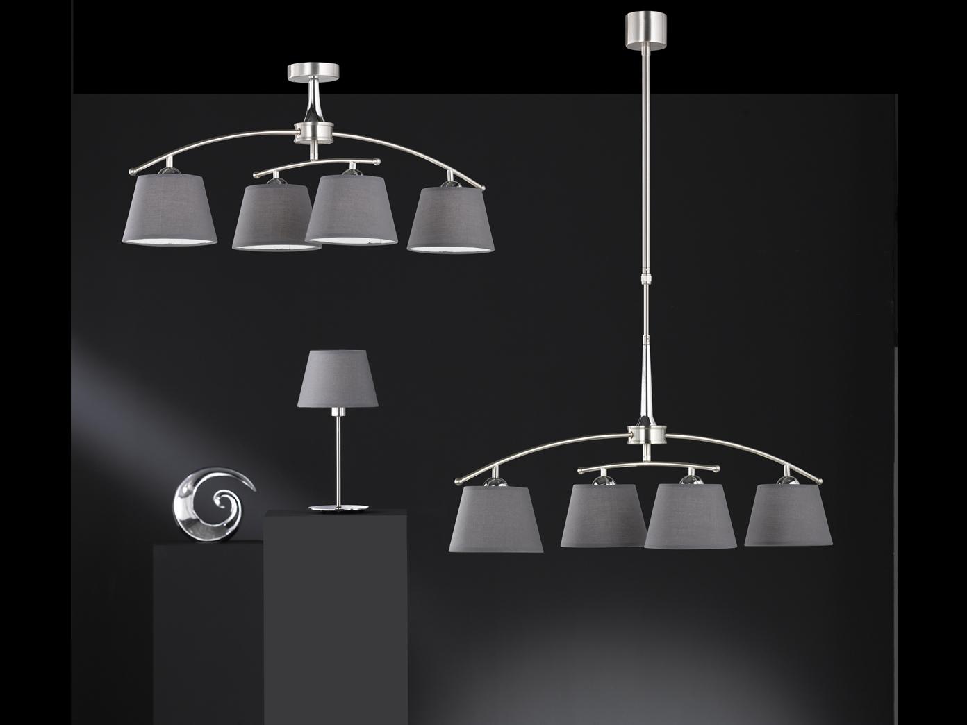 Deckenleuchte LED 4-flammig schwenkbar Stoffschirme grau ...
