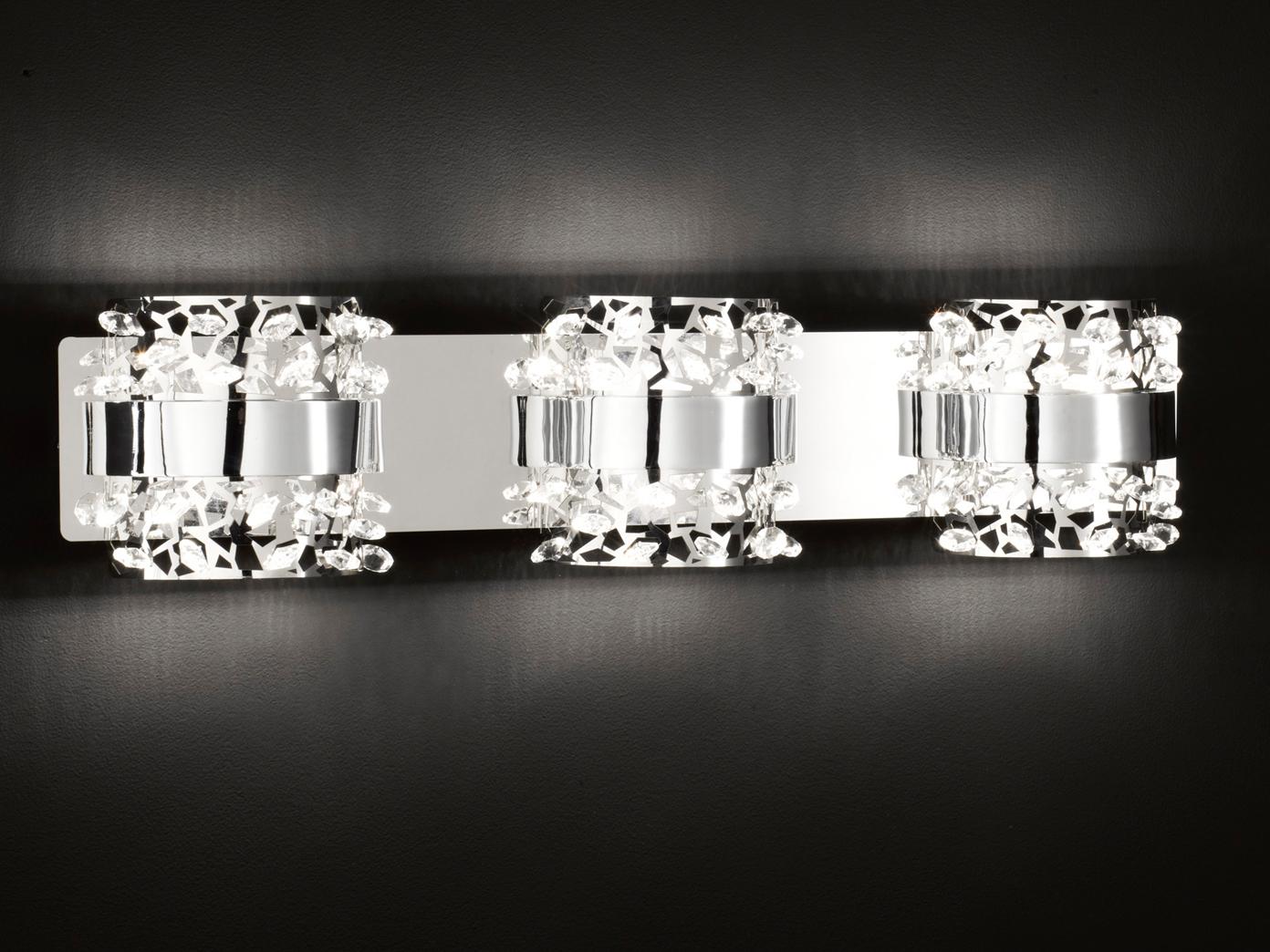 Cromo cromo cromo lucide 3 fl. parete led lampada con vetro