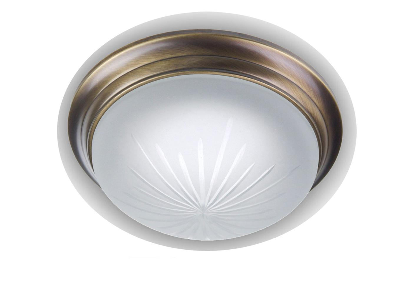LED-Deckenlampe-Schliffglas-Altmessing-gewoelbt-Dielenlampe-30cm-Kuechenlampe-NEU