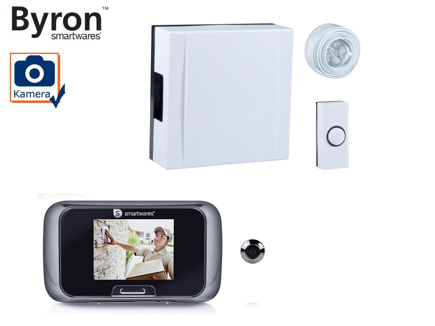set: türklingel, klingelknopf und digitaler türspion mit kamera