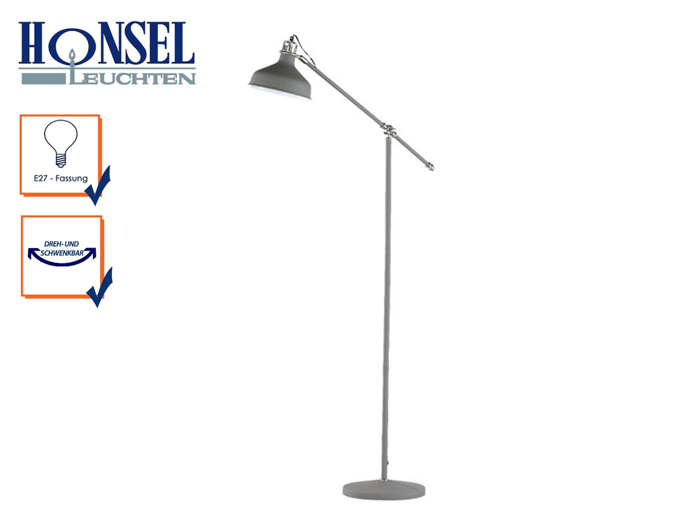 Schwenkbare Design Stehlampe Grau Standleuchte Leseleuchte