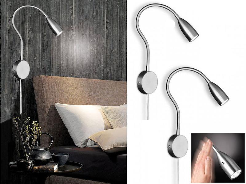 Wandlampe flex Leselampe Wohnzimmer 2er Set LED Leseleuchten dimmbar mit Gestik