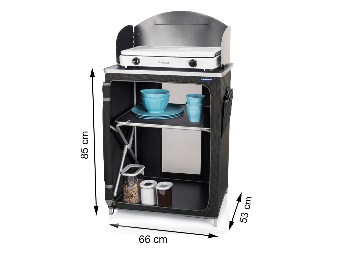 Stabiles Camper Küchenmodul mit 4 Windschutz + 4 mit verstellbaren Füssen, faltbar daca46