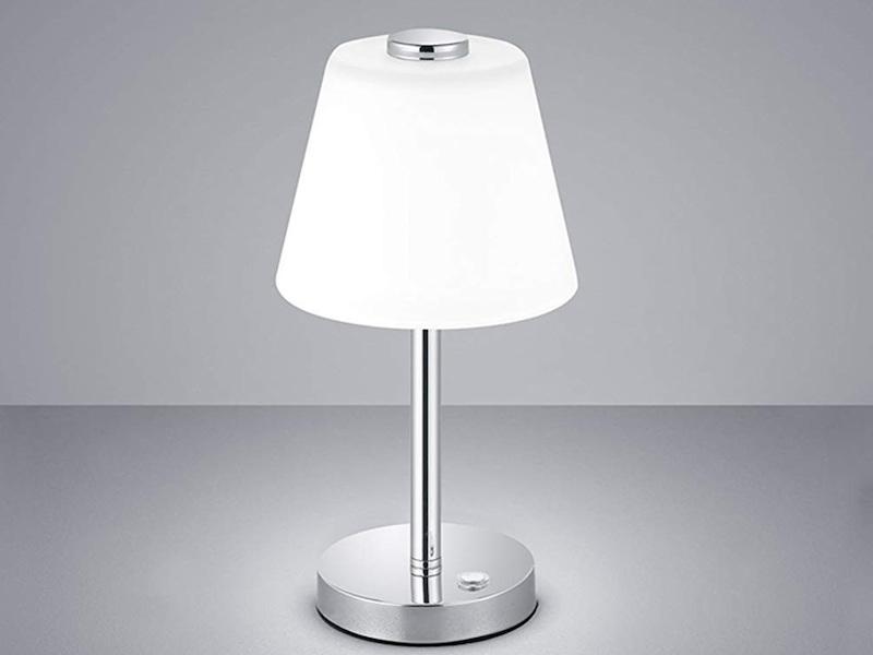 Moderne LED Tischlampe aus Chrom mit Glaslampenschirm in weiß TOUCH ME Dimmer