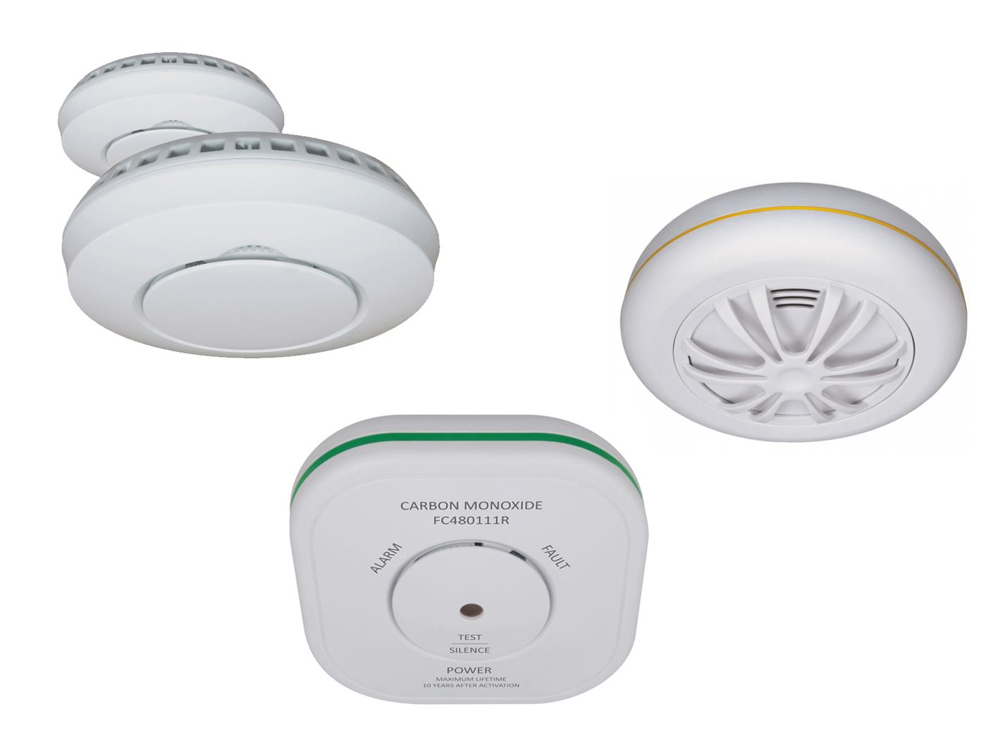 Réseau alarmmelderset  2 funkrauchmelder + 1 détecteur de chaleur + 1 gaswarnmelder