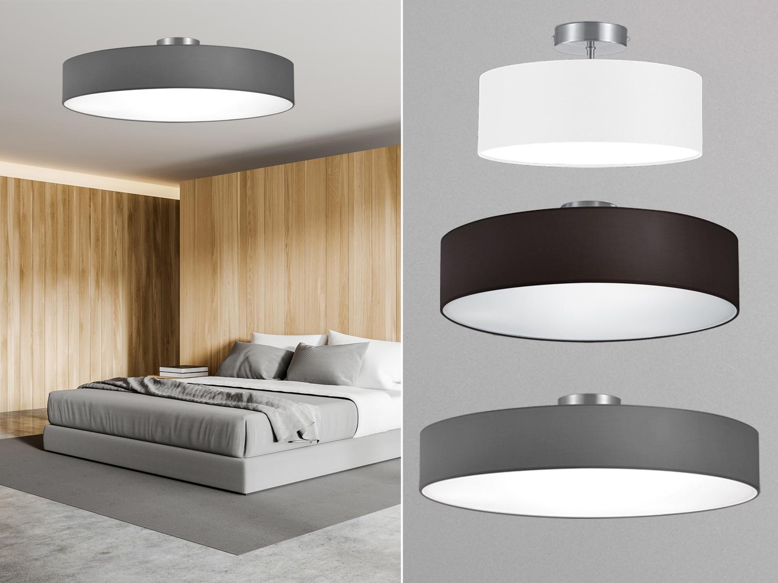 Moderne Wand//Deckenlampe Rund Ø30 cm Stoffschirm braun blendfrei durch Abdeckung