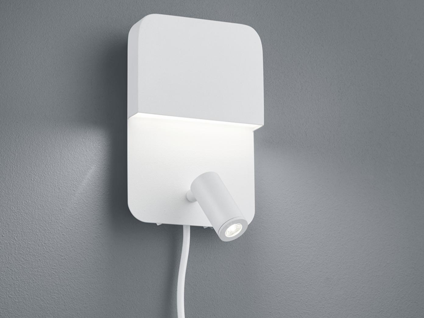 Getrennt schaltbare LED Wandleuchte für Innen mit Spot & Schalter, matt weiß, A   Authentisch
