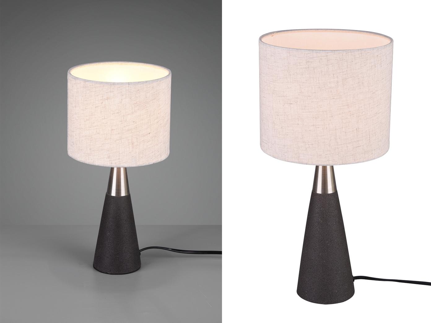 Tischlampen modern mit STOFF Lampenschirm rund aus Beton Schlafzimmerlampen E14