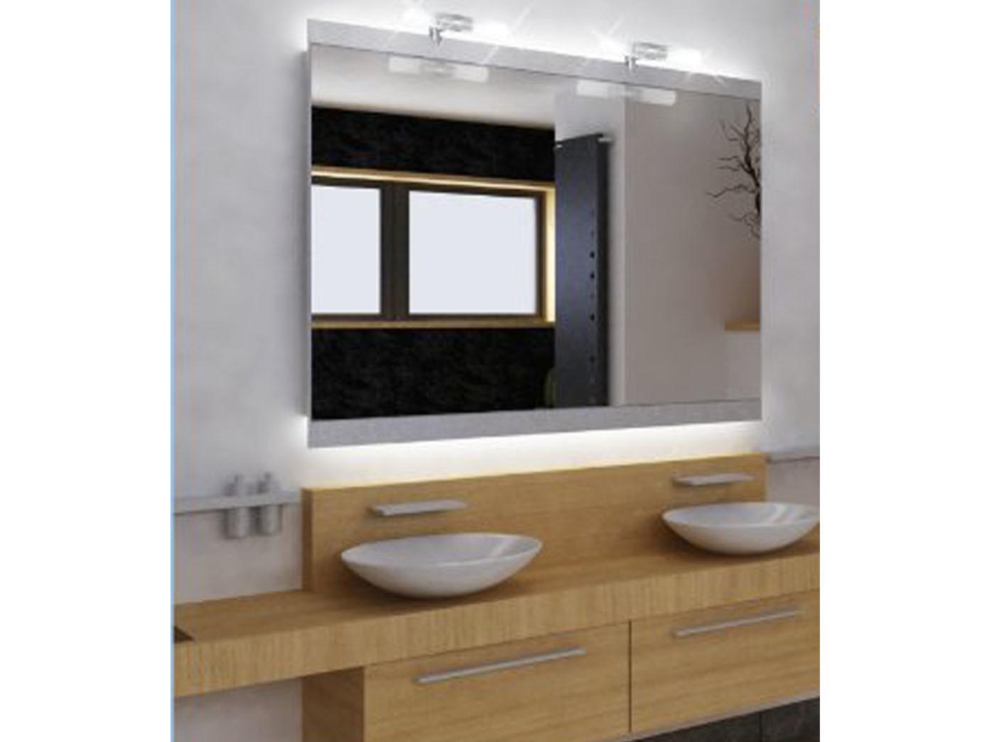 Details zu Spiegelleuchte COSENZA 2flammig fürs Badezimmer, Spiegellampe  Bad Glas IP23