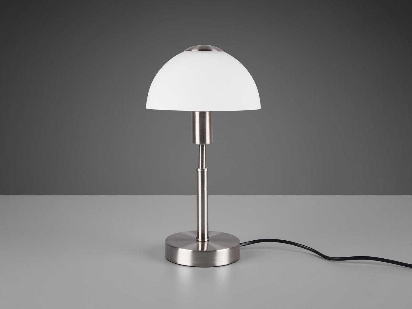 Moderne Tischleuchte mit Glas Schirm in weiß /& Touch Dimmer fürs Wohnzimmer
