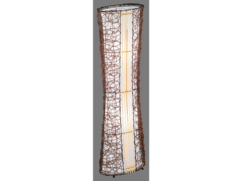 Trio Stehleuchte RATTAN, E14, Höhe 110cm, Fussschalter, Stoff weiß ...