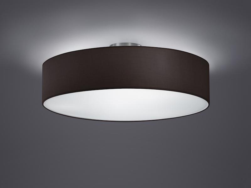 trio design deckenleuchte mit stoff schwarz 50cm schirm rund deckenlampe ebay. Black Bedroom Furniture Sets. Home Design Ideas