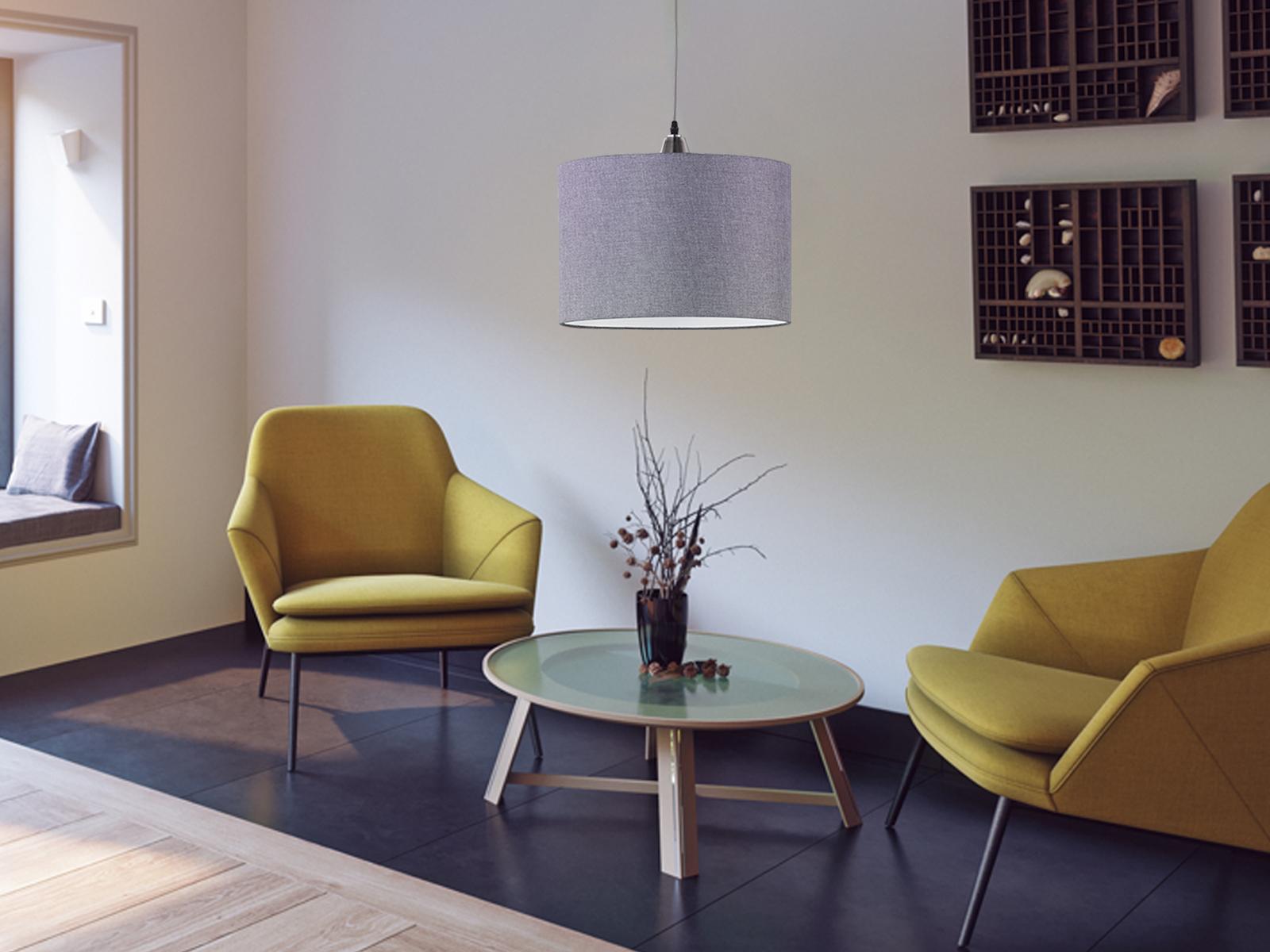 Großartig Hängelampe Küche Galerie Von Das Bild Wird Geladen Trio-haengeleuchte--grau-lampenschirm-stoff-40cm-lampe-
