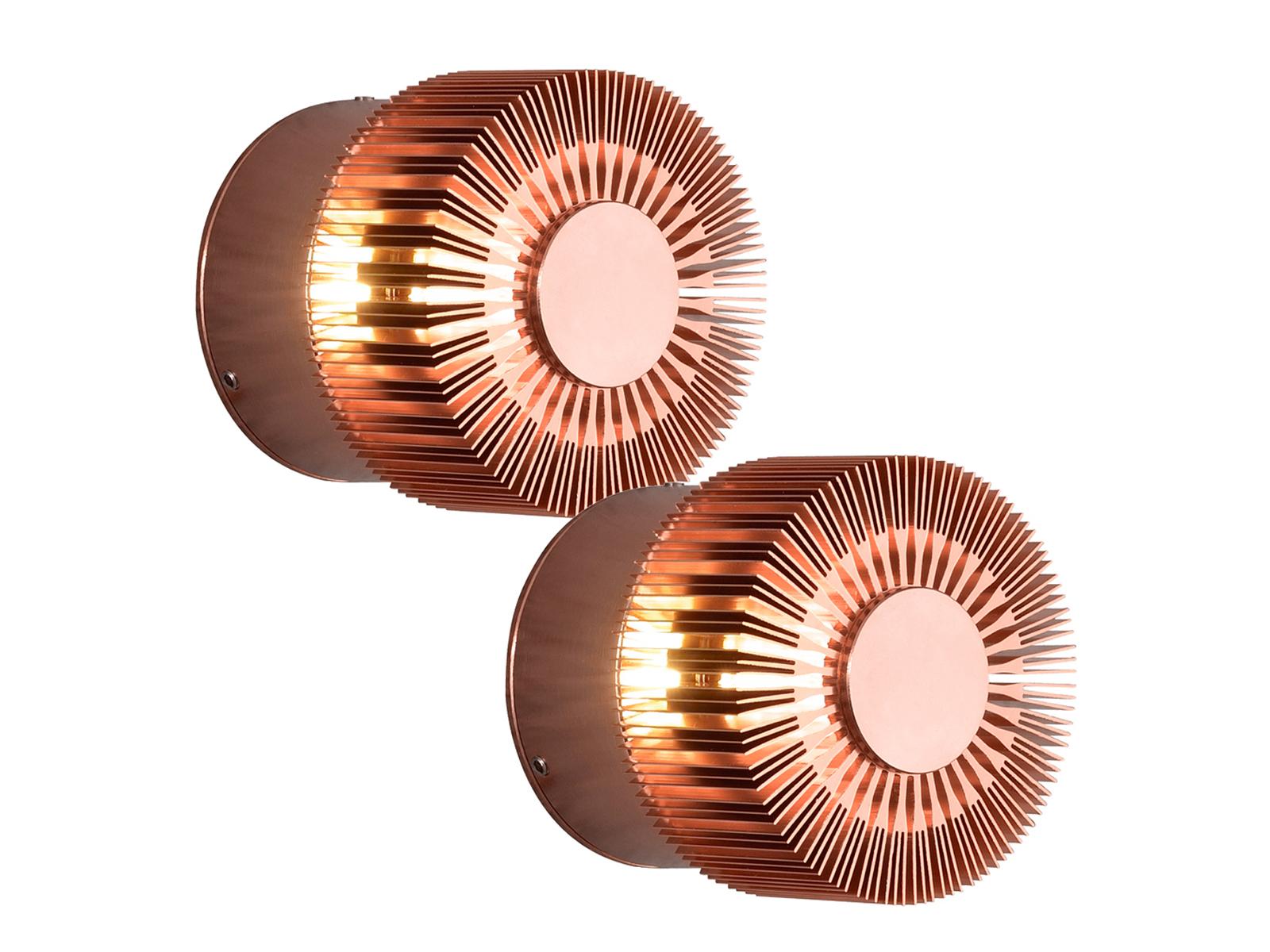 2er-Set Wandleuchten MONZA effektvolle Beleuchtung kupferfarbe Alu