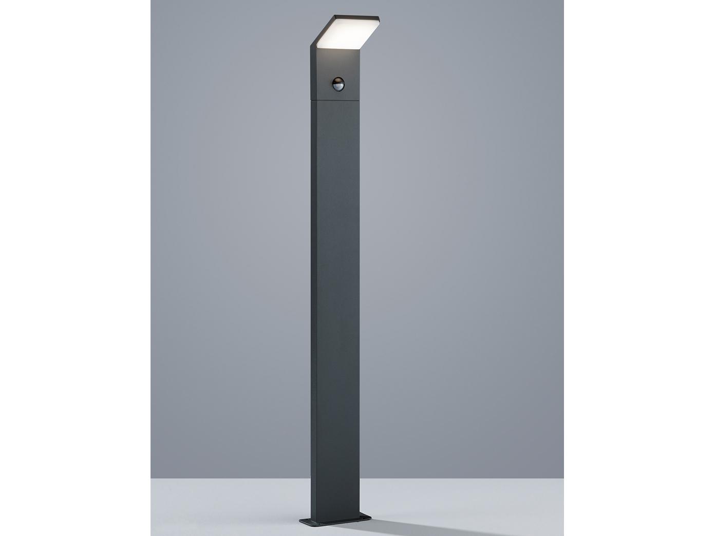 Moderne LED Pfostenleuchte in anthrazit aus ALU mit Bewegungssensor, 100cm IP54