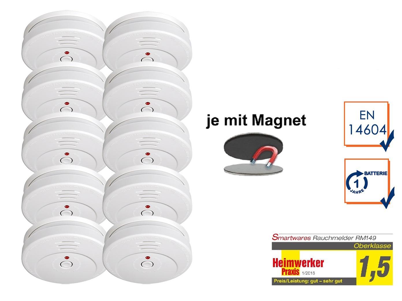 10er set rauchmelder t v zertifiziert easy magnetmontage brand feuer melder eur 86 49. Black Bedroom Furniture Sets. Home Design Ideas