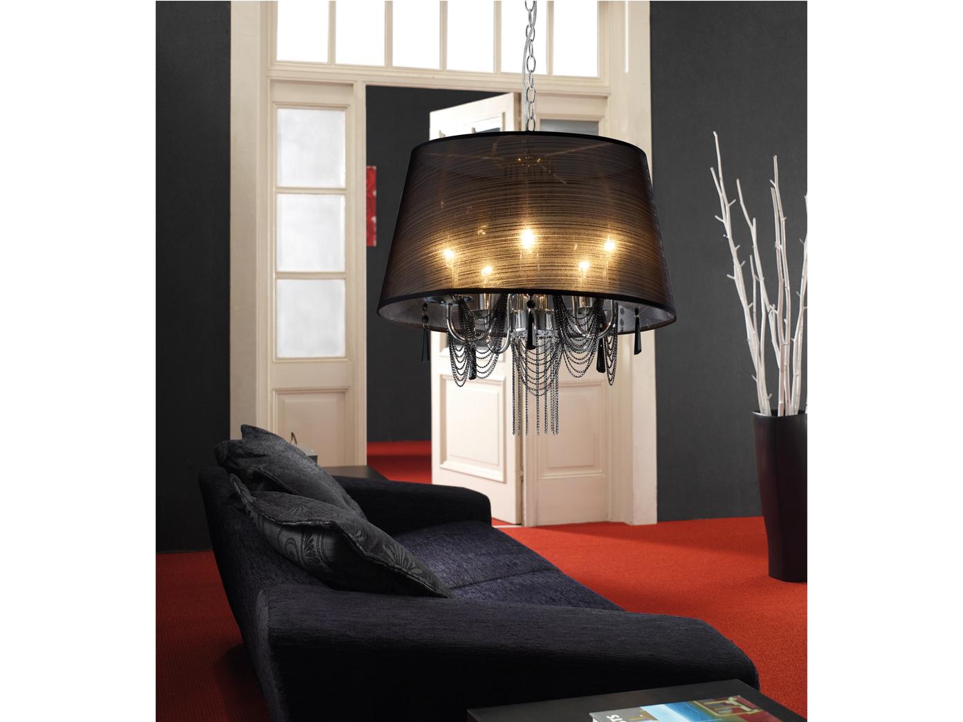 Kronleuchter Barock Schwarz ~ Trio kronleuchter schwarz mit acrylschirm und behang e14 Ø 50 cm