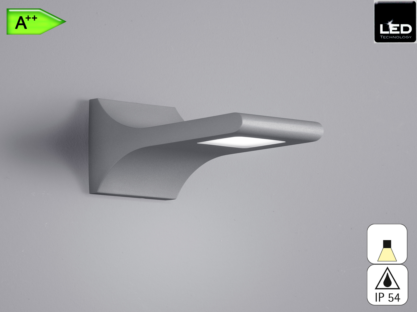 Außenwandleuchte YUKON, titan, 3 Watt LED, 280 Lumen, IP54
