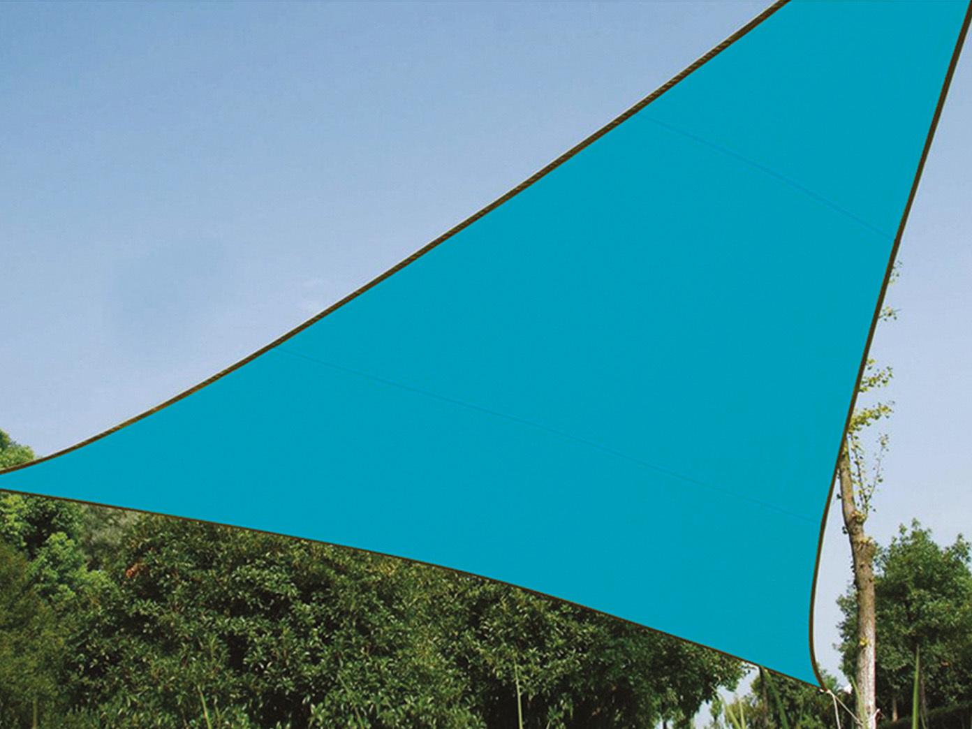 Sonnensegel 500 Regenschutz PEREL, himmelblau, 500 x 500 x 500 Sonnensegel cm, Wasserabweisend 50d229