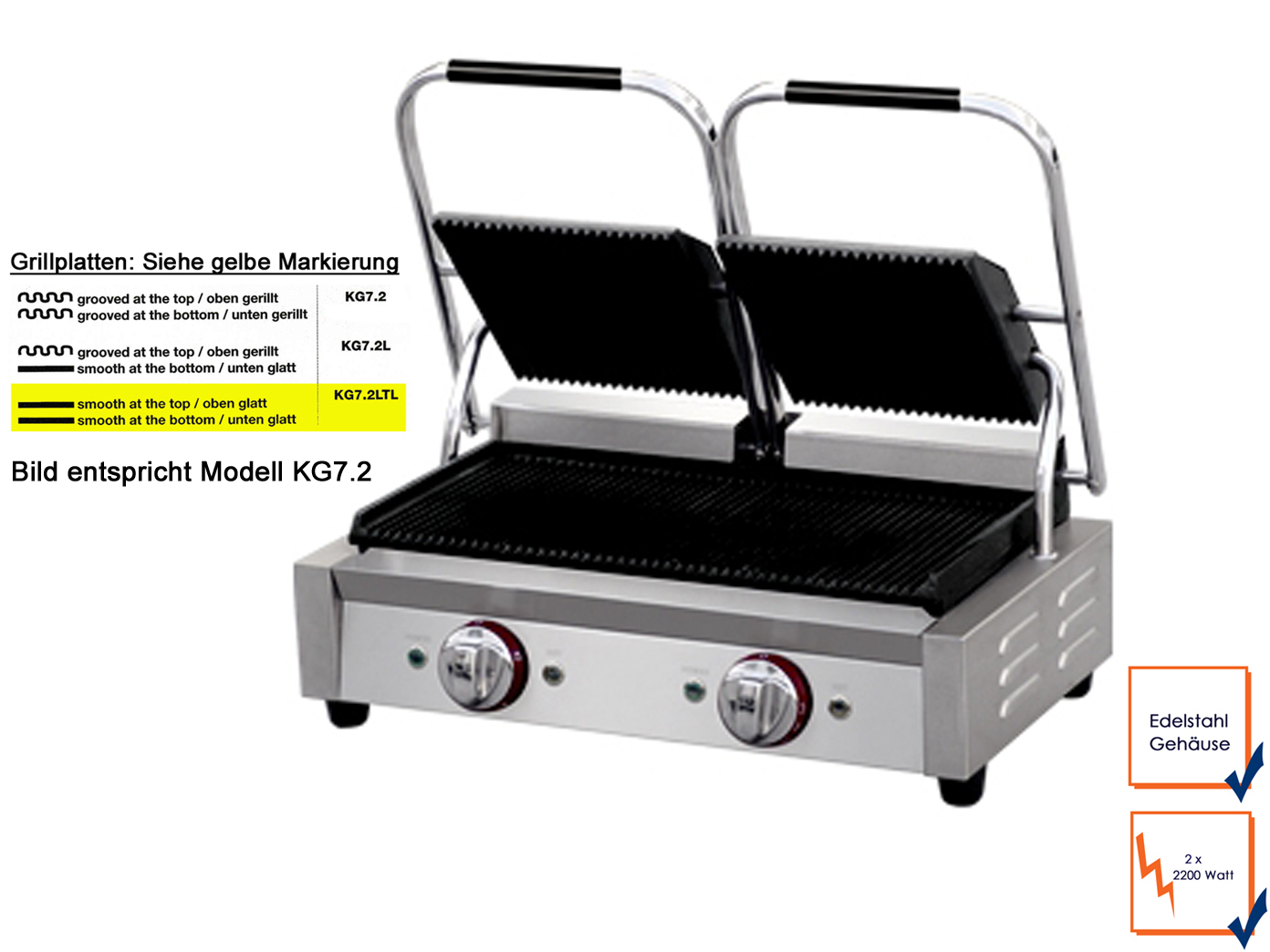 profi edelstahl kontaktgrill platten glatt 2200w gastro. Black Bedroom Furniture Sets. Home Design Ideas