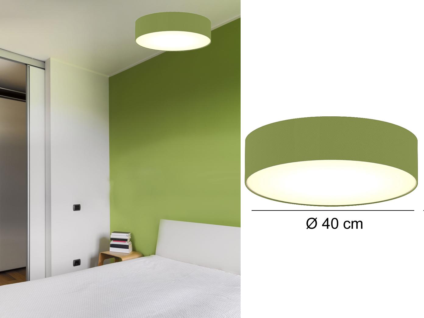 Design Deckenleuchte Ceiling Dream Rund O40 Cm Stoff Schirm Grun