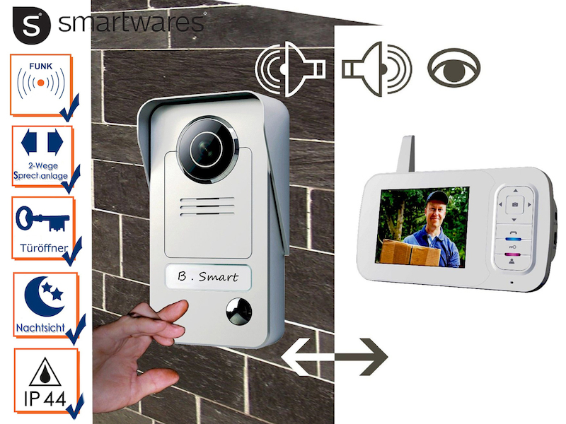Funk Video Tür sprechanlage Monitor weiß Klingel Kamera Akku 7 Zoll Digital