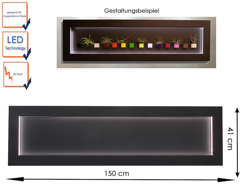 magnettafel aus metall mit led beleuchtung 41 x 150 cm 20w wanddeko kalamitica ebay. Black Bedroom Furniture Sets. Home Design Ideas