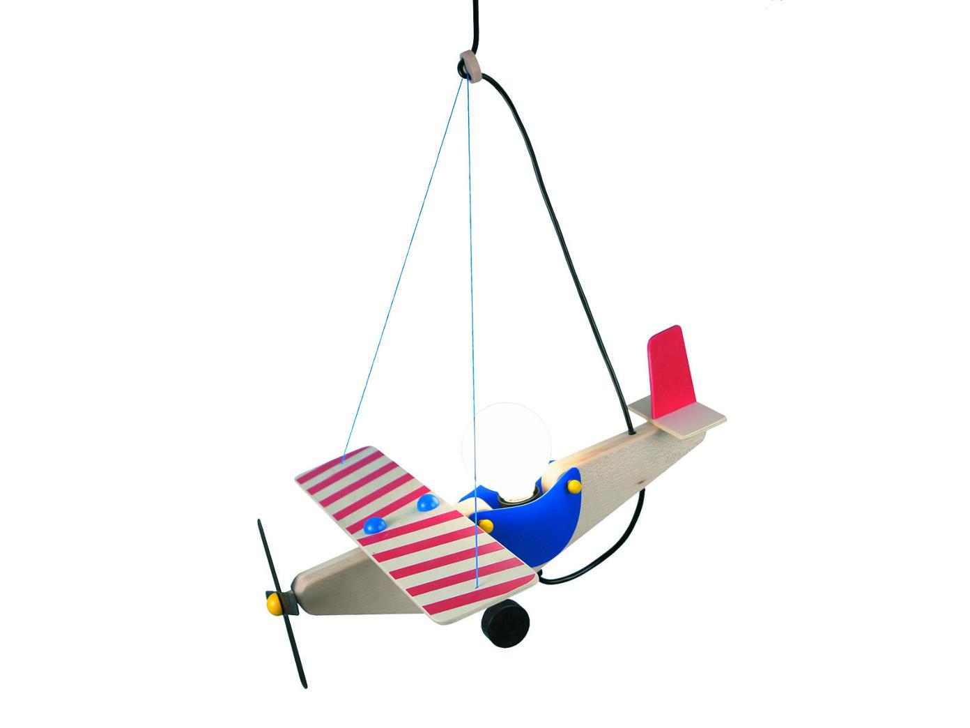 Kinderzimmerlampe Pendelleuchte Holz, Design Flugzeug, Lampe ...