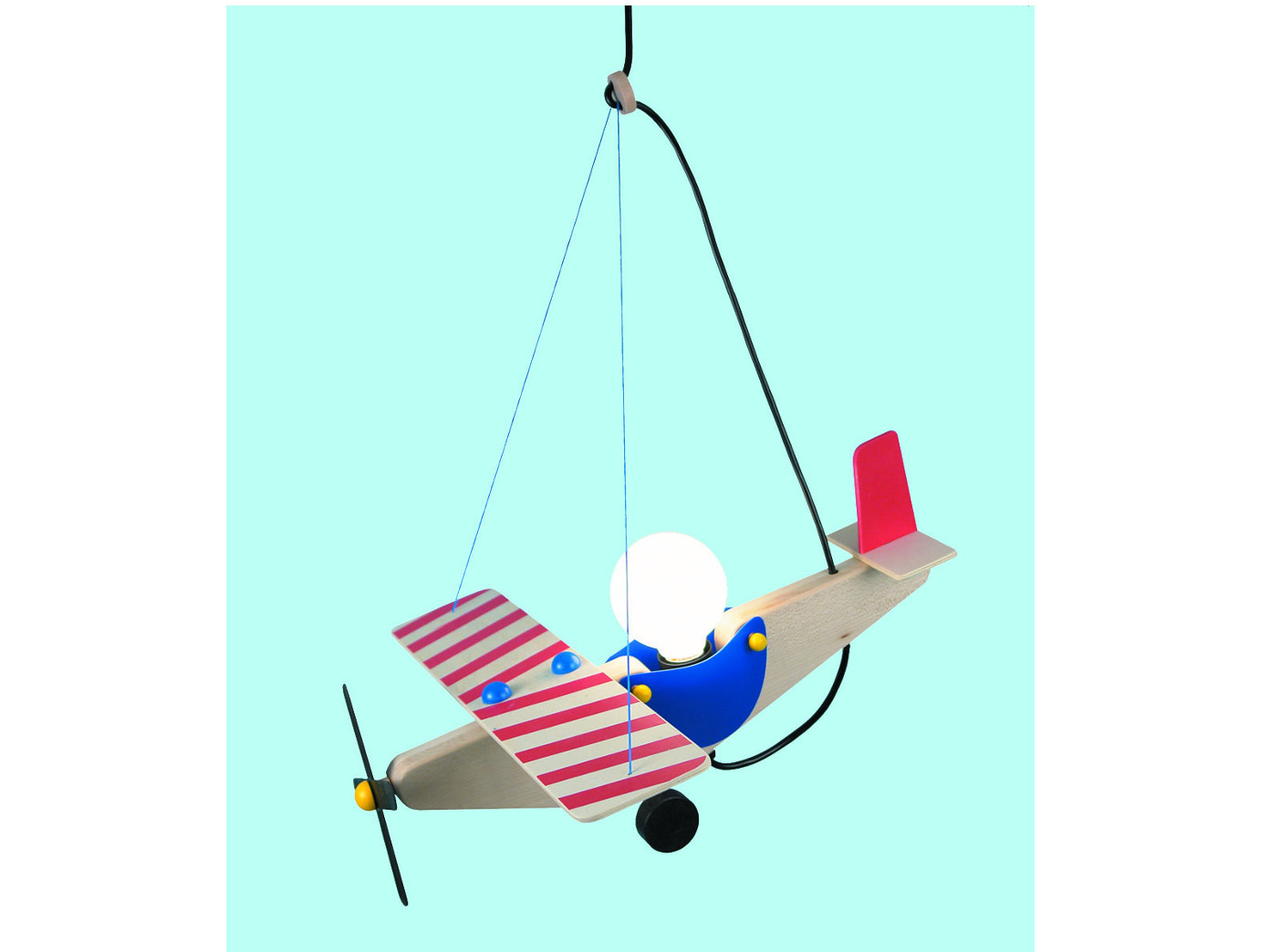 Kinderzimmerlampe Pendelleuchte Holz, Design Flugzeug, Lampe Kinder ...
