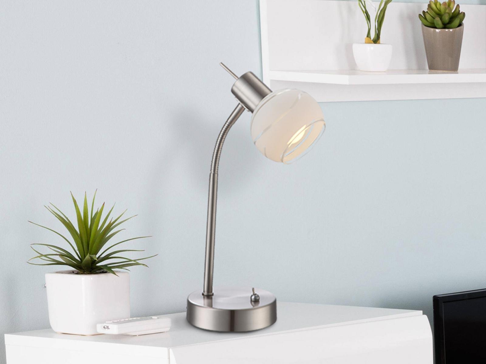 LED Tischleuchte flexibel Glasschirm satiniert, Tischlampe Wohnraum Nachttisch