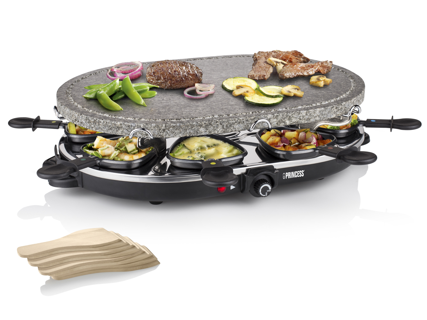 raclette mit steinplatte antihaftbeschichtung 1200 watt f r 8 personen ebay. Black Bedroom Furniture Sets. Home Design Ideas