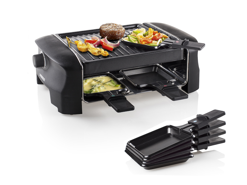raclette f r 4 personen 600 watt antihaftbeschichtet. Black Bedroom Furniture Sets. Home Design Ideas