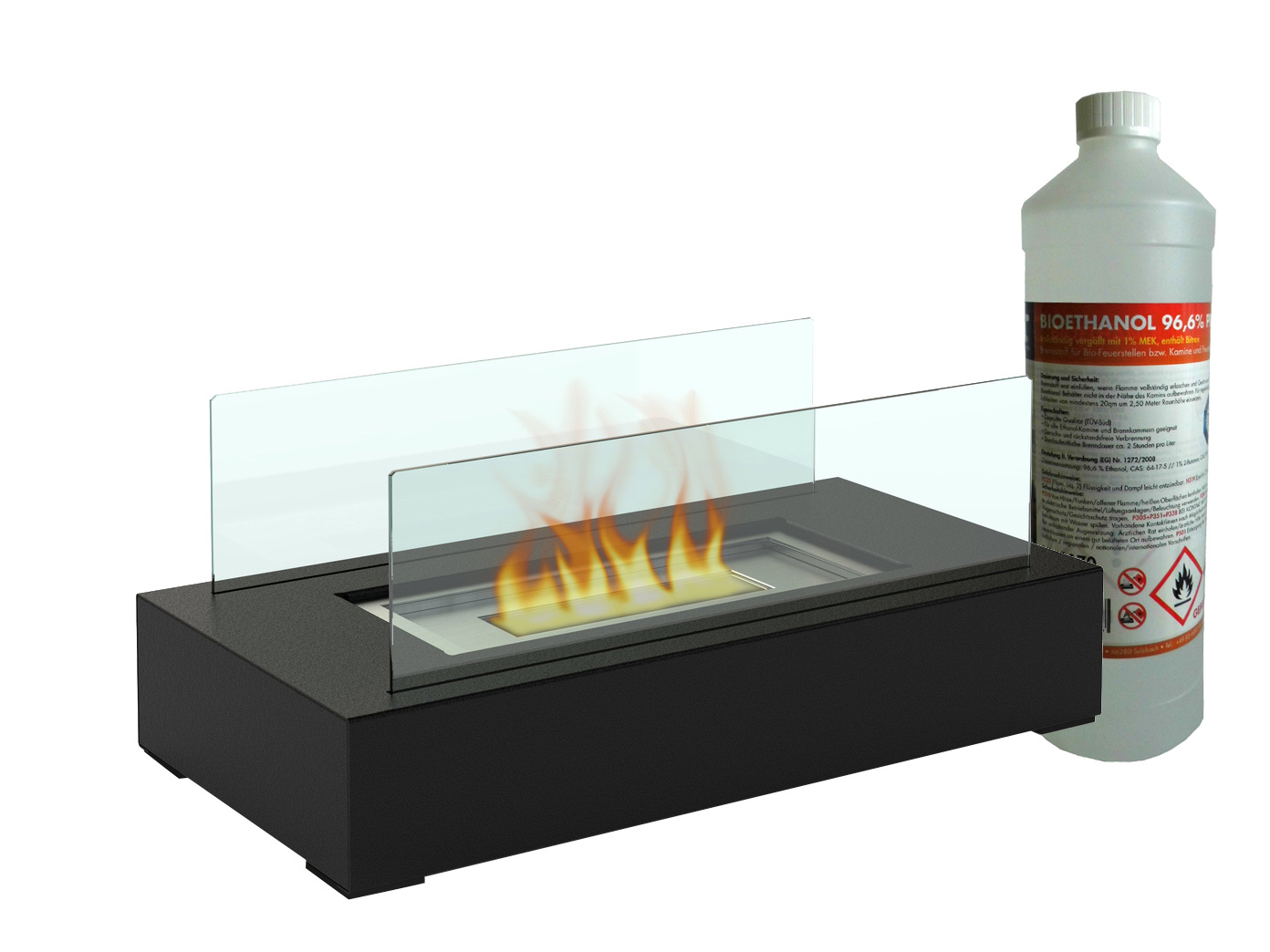 tischkamin mit 1liter bio ethanol tischfeuer glaskamin. Black Bedroom Furniture Sets. Home Design Ideas