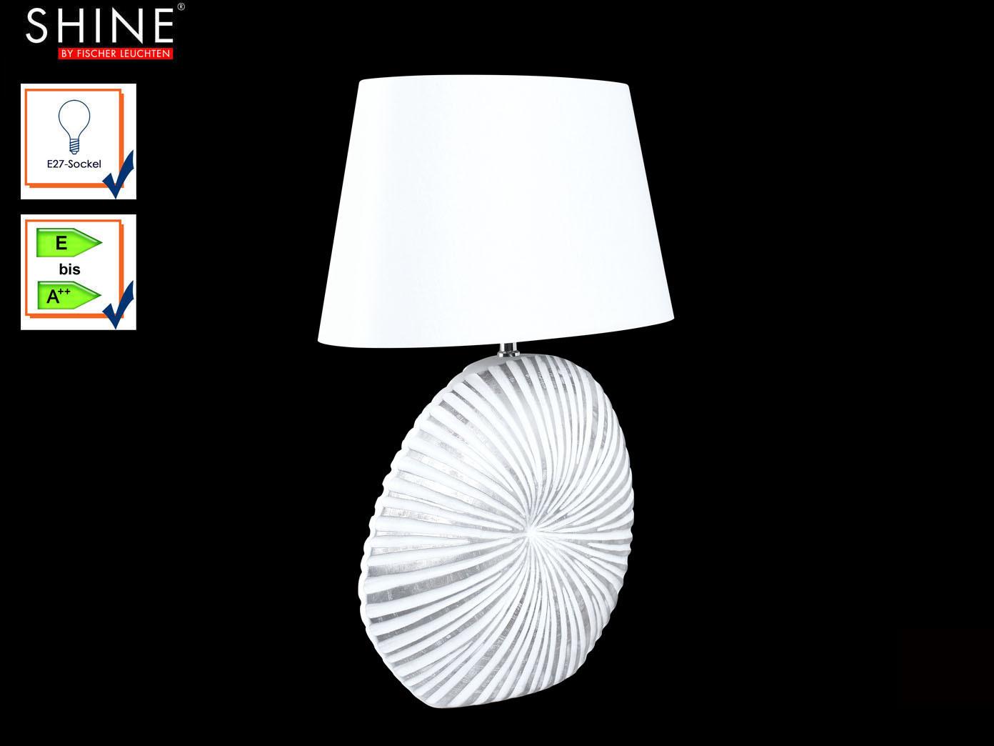 Tischlampe FISCHER Muschel-Design, Lampenschirm weiß, 60cm ...