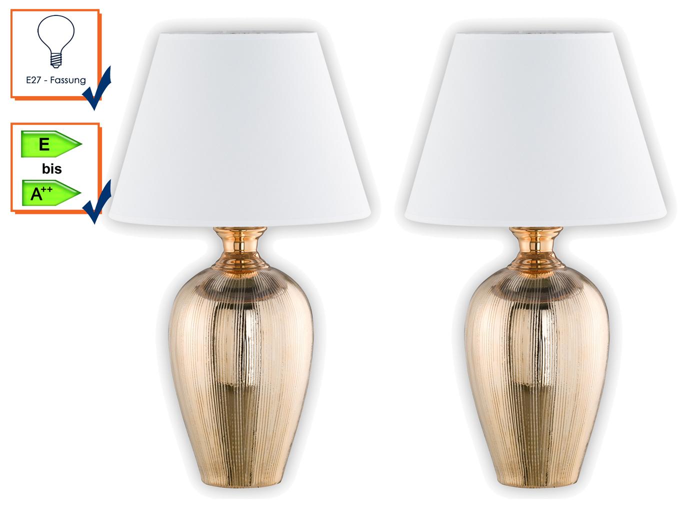 LED Tischleuchte mit Stoffschirm Design Klassiker Nachttischlampe Nachtischlampe