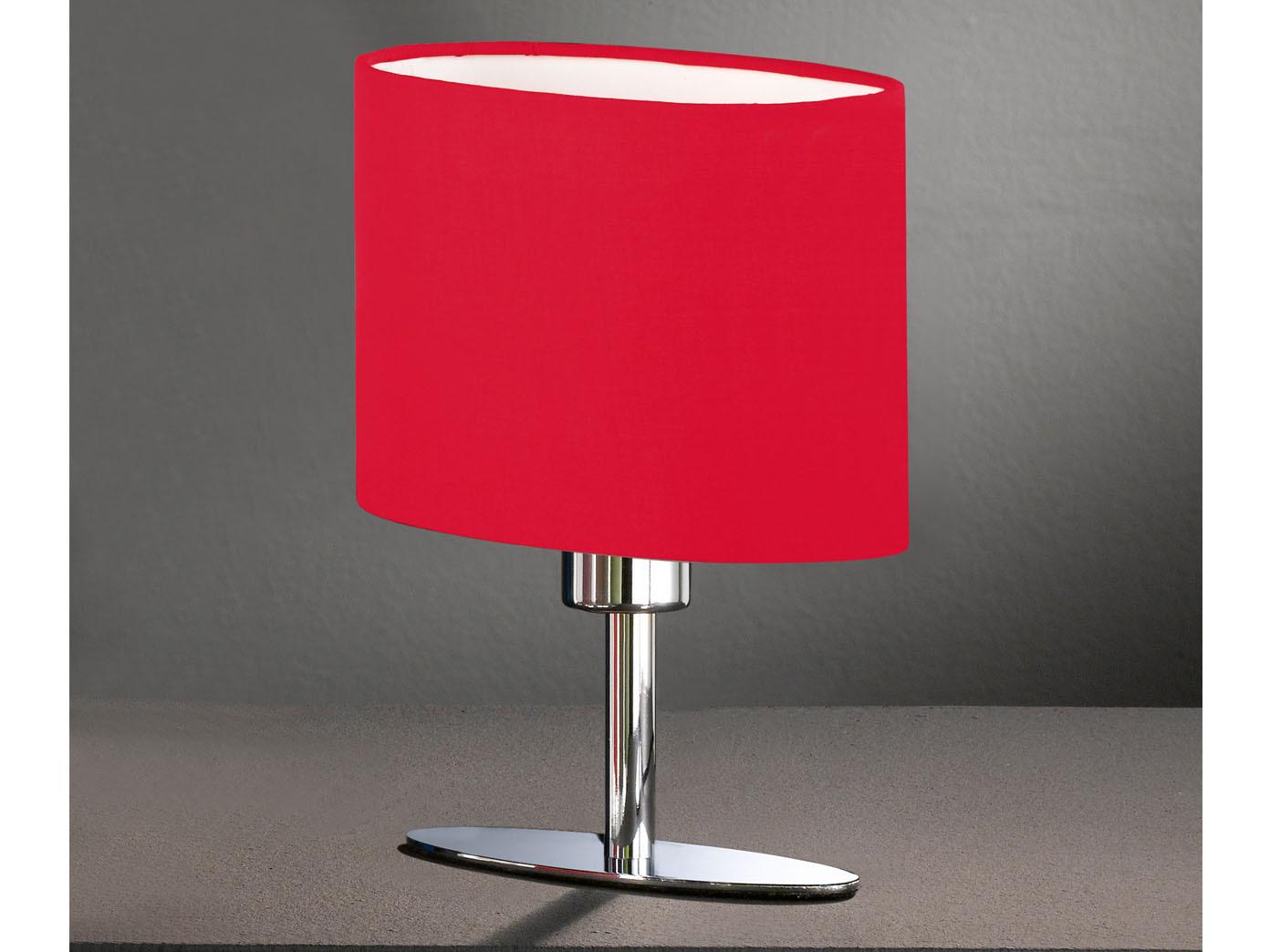 Deko Tischleuchte Leuchtenfuss Chrom Glanzend Schirm Rot