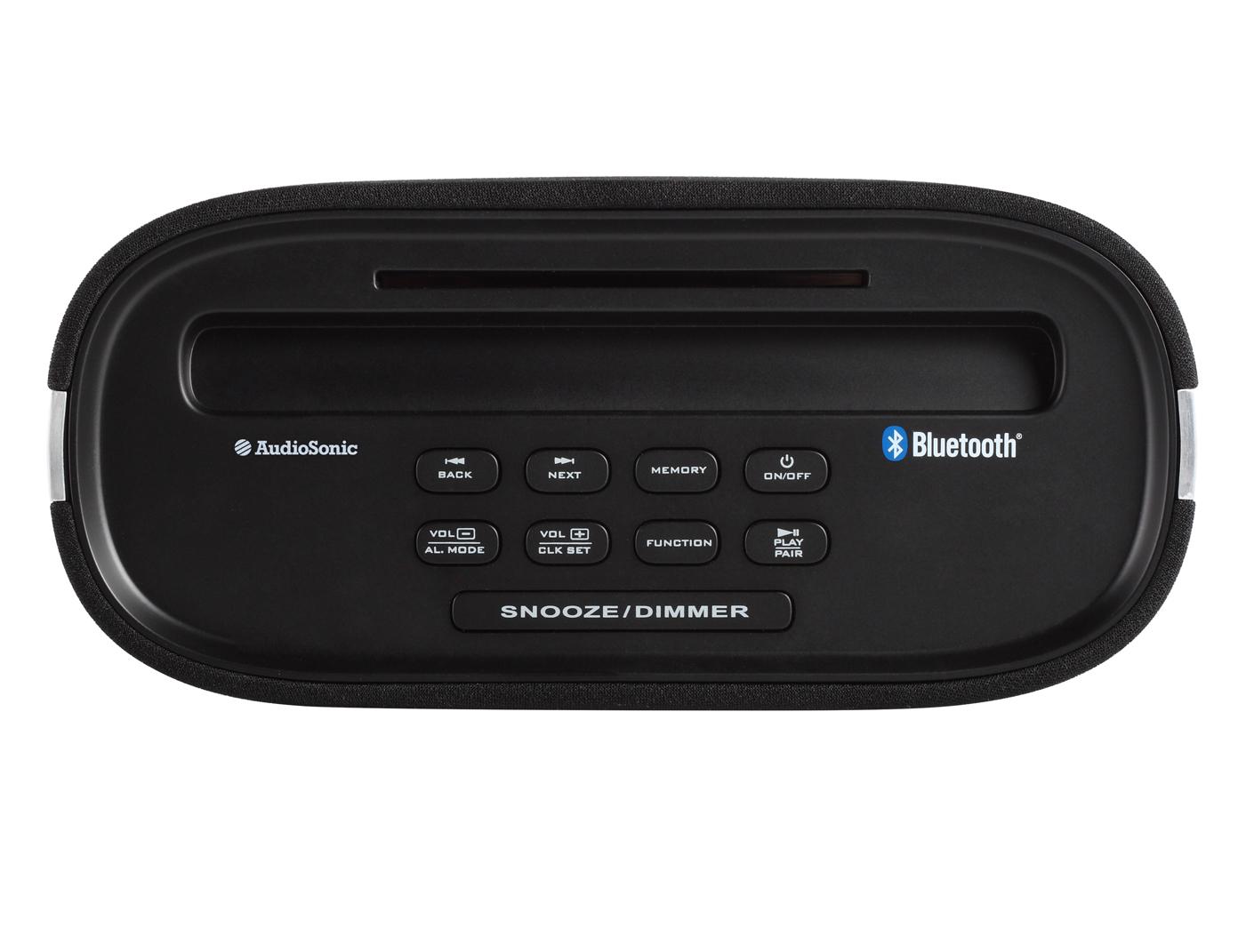 bluetooth radiowecker mit usb anschluss schwarz display digital fm radio ebay. Black Bedroom Furniture Sets. Home Design Ideas
