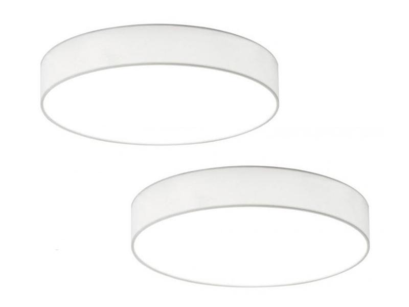 Wohnzimmerlampe Trio LED Deckenleuchte dimmbar LUGANO 40cm Stoffschirm weiß